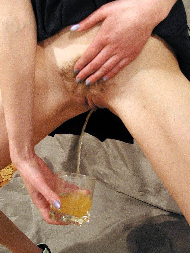 Sexy Blonde Drinks Pee Straight