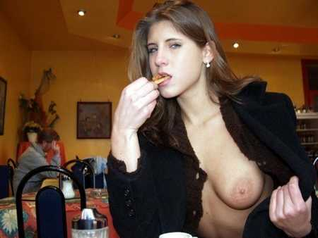 topless girl in resturant