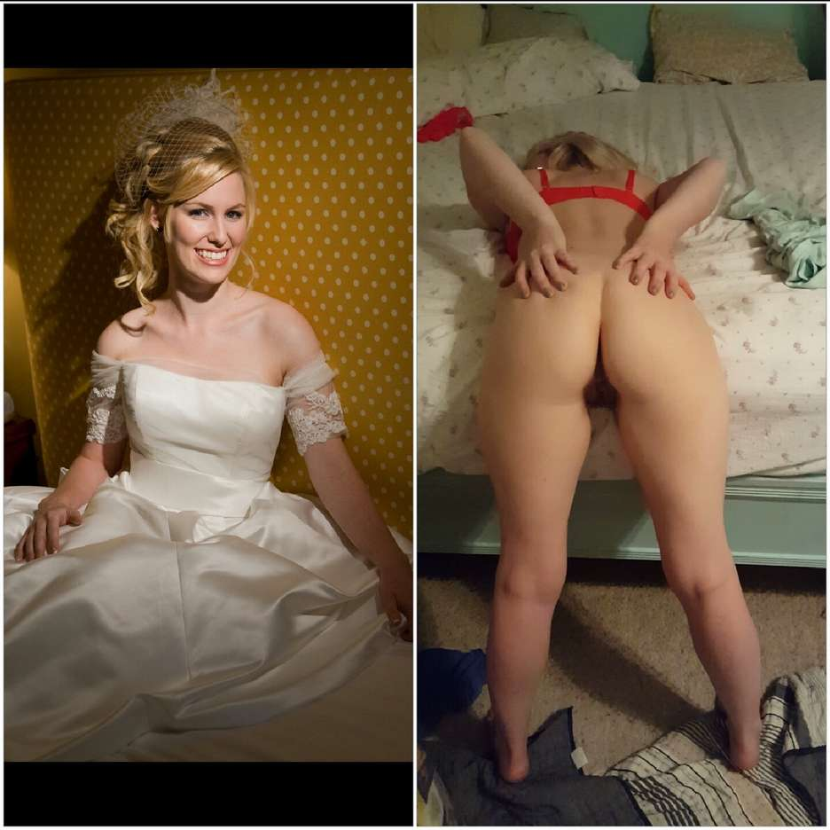 Avant Après d'une amatrice blonde mariée très coquine