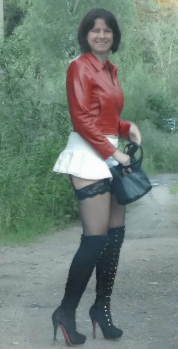italian slut wife dressed like a street whore in stockings and boots exposed by cuckold hubby