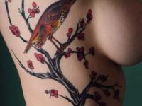 Des tatoos subtils et bandants le long de la poitrine